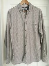 MANTARAY White/Brown Stripe Thick Cotton Shirt Size S Actual Chest Measures 43""