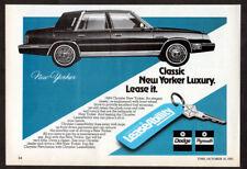 1984 CHRYSLER New Yorker Vintage Original SMALL Print AD LeaseAbility Canada EN