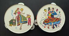 """2 Metal Toy Tambourines Colorful Vintage Dancing Salsa 6 3/8"""" Dia Made in U.S.A"""