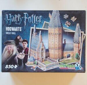 WREBBIT HARRY POTTER HOGWARTS GREAT HALL, FOAM BACKED 850 PIECE 3D JIGSAW PUZZLE