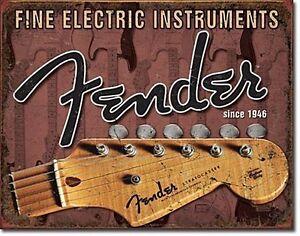 Fender Guitars Headstock metal wall sign 425mm x 280mm (de)