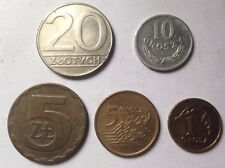 5 x POLISH COINS Set Zlotych Groszy 20 5 10 1 Collections European Polska Poland