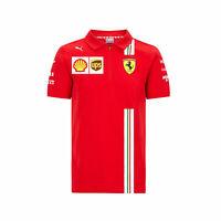 Mens Fanatics Scuderia Ferrari 2020 Team Sport Training Casual Top Polo Shirt