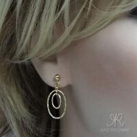 ⛶ SPORTLICH & ELEGANT ● funkel Creolen Ohrringe mit Stecker ygf 14k Gold 585