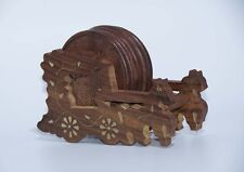 FREE SHIPPING AamiraA Handmade Wooden Round Coasters Horse Cart Holder (6 Pack)