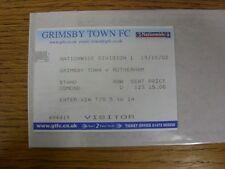 Billete De 19/10/2002: Grimsby Town V Rotherham United visitante []. toda falla con T