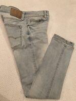 American Eagle Jeans Mens 28x32 Light Wash Blue Denim, Flex Slim Straight