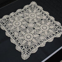 Vintage Hand Crochet Lace Doily Mats Doilies Square Table Topper Wedding 15inch
