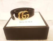 Para Hombres Cinturón Double G Gucci Marmont 8cm Talla 115 Negro Dorado