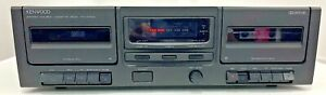 KENWOOD KX-W594 Vintage Stereo Dual Cassette Tape Deck Cleaned Tested WORKS