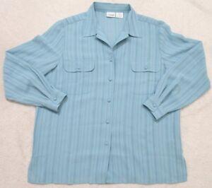 Liz Baker Long Sleeve Women's Dress Shirt 16 Blue Solid Sixteen Polyester Womans