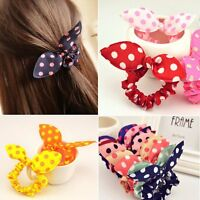 10 Pcs Animal Bunny Ear Dot Scrunchie Hair Band Elastic Ring Tie Braid Holder