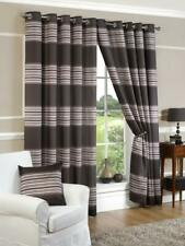 "Striped Chocolate Brown, Metal Eyelet / Ring Top Faux Silk  66"" x 72""  Curtains."