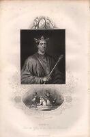 C1850 Vittoriano Stampa ~ Henry II ~ Inserto Murder Di Thomas Becket