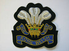 Royal Welsh Regiment Wire Embroidered Bullion Blazer Badge