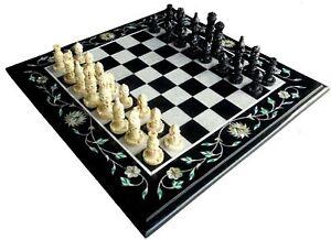 "18"" Marble Chess Table Top Pietra Dura Handmade Work"