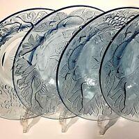 Vintage KIG Ice Blue Glass Salad Plate Bowl Set 4 Indonesia Embossed Fruit