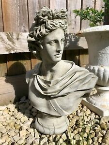 Reconstituted Stone Apollo Bust Statue   Vintage Roman Greek Garden Ornament