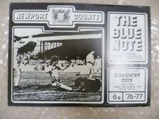 1976 V Coventry City condado de Newport, 30 Nov (programa oficial)