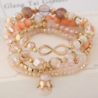 Bohemian Multilayer Crystal Beads Bracelet Bangle Charm Jewelry Beach Party Gift