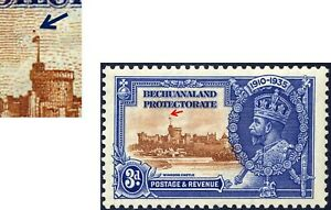 BECHUANALAND GEORGE V 1935 SILVER JUBILEE SG 113 3d DOT ABOVE FLAGSTAFF ERR MINT