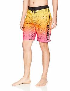 "Hurley Mens Phantom Splatter Grain 20"" Swim Boardshorts 33 Pink Blast Yellow $40"