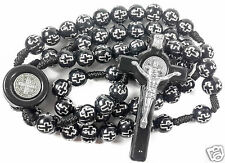 Saint Benedict Rosary Catholic NR Medal with Black Crosses Beads Prayer Crucifix