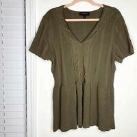 Lane Bryant V Neck Olive Green Blouse Women's Size Short Sleeve 18/20