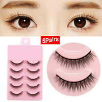 5 Pairs Natural Short Cross False Eyelashes Handmade Makeup Fake Eye Lashes-