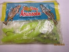 "NEW Bass Assassin Saltwater Shad, 3"", Limetreuse  10 pk w/ lead head hooks"