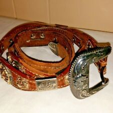 Nadine Genuine Leather Size 42 Belt with Heavy Metal Western Decorations