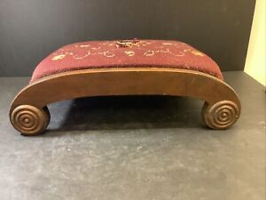 Antique Walnut Mahogany Empire Foot Stool Charming Arched Scroll