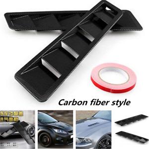 2pcs 3D Carbon fiber Car Decorative Air Flow Intake Hood Scoop Vent Bonnet Cover