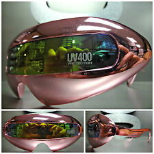 SPACE ROBOT PARTY RAVE COSTUME CYCLOPS FUTURISTIC SHIELD SUN GLASSES Pink Chrome