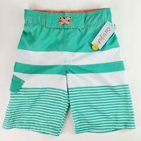 Cat & Jack Boys Classic Stripe Swim Trunks Boardshorts Green Striped Medium 8/10