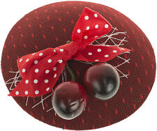 Vintage PHYLICIA Punkte BOW Cherry Tulle PILLBOX Hütchen Fascinator Rockabilly