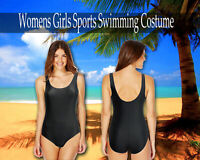 Womens Girls School Sports Swimming Costume Black Ages 4-13-Women Sizes 12 14
