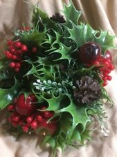 "Vtg Christmas 3"" Candle Ring Wreath Pinecone Berry Apple Decor Center Piece 11"""