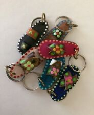 "Mexican Mini Leather Key Chain Sandal. Lot of 6 Mexican ""Chancla"""