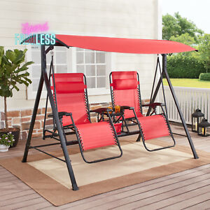 Mainstays 2 Person Zero Gravity Reclining Swing w/ Canopy Outdoor Furniture Red