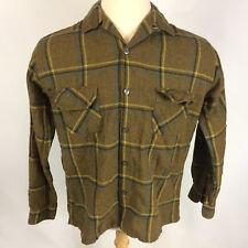 50's 60's Wool Blend Vintage Flannel Plaid Loop Collar Work Hunting Shirt Jacket