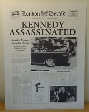 "London Herald 1963 Kennedy Assassinated Felix Rosenstiel's 1999 Print 12"" x 16"""