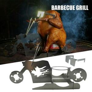 Chicken Stand Beer Motorcycle BBQ Stainless Steel Rack w/ Glasses Tools HOT