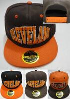 CLEVELAND BROWN ORANGE BLACK 3D SNAPBACK HAT FLATBILL Hip Hop Fashion Cap