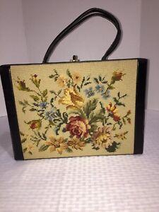 Vintage Needlepoint Floral Roses Lennox Handbag Clamshell Box Purse Autumn