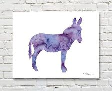 Abstract Purple Donkey Watercolor Painting 11 x 14 Burro Art Print by Artist DJR