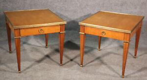 Gorgeous Pair Baker Cherry French Directoire Style End Occassional Tables C1960