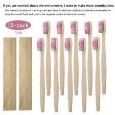 10PCS Natural Wood Bamboo Toothbrush Eco Friendly Soft Bristles Brush Oral Care