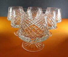 6 LARGE & HEAVY FINE QUALITY DIAMOND CUT CRYSTAL BRANDY SNIFTERS COGNAC GLASSES