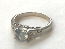 Antique Sterling Silver 925 Ring SIZE 7.25 with CZ Crystal Light Blue